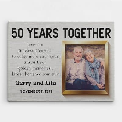 50 Years Together Photo Canvas Print - 50th anniversary gift