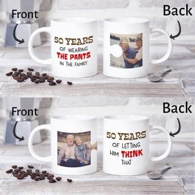 funny custom photo coffee mugs for 50 year anniversary