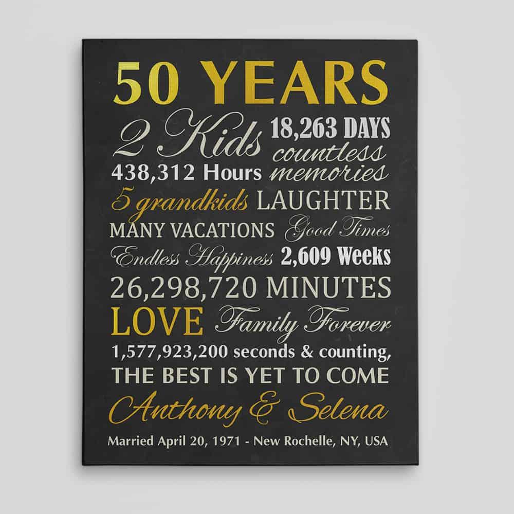 50 years 2 kid custom canvas print - 50th anniversary gifts