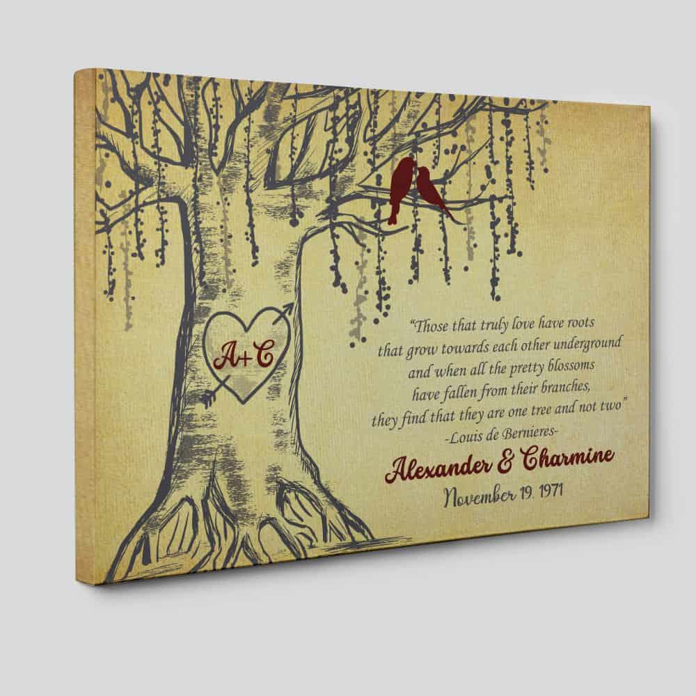 50th Anniversary Tree Custom Canvas Print - 50th anniversary gifts