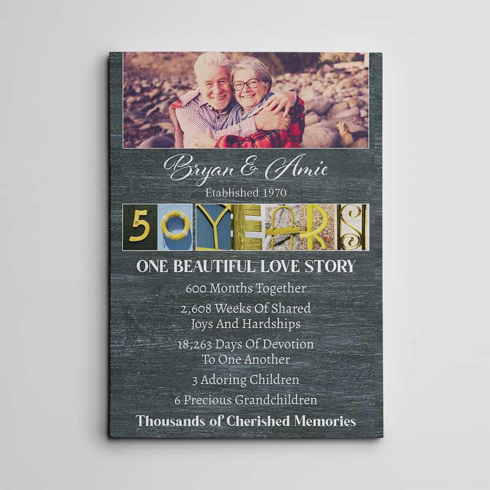 50 Years Wedding Anniversary Letter Art - 50th wedding anniversary gifts