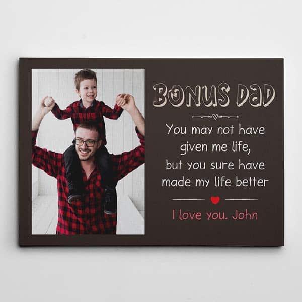sentimental fathers day gift: Bonus Dad Photo Canvass
