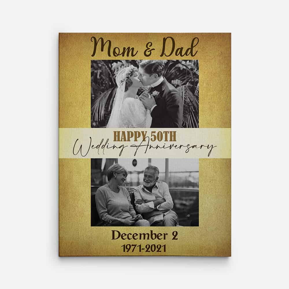 Happy 50th Wedding Anniversary 50 Years Canvas Print - 50th wedding anniversary gifts
