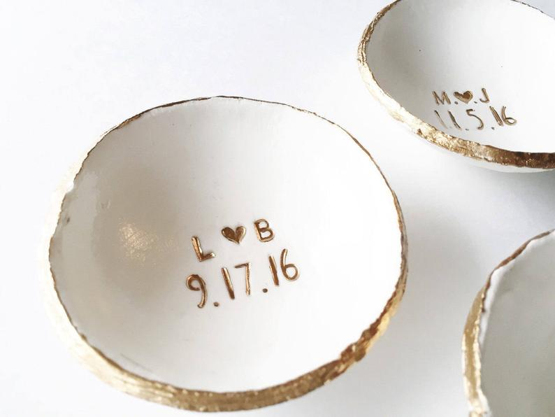 gift for 10th year anniversary: Personalized ring dish