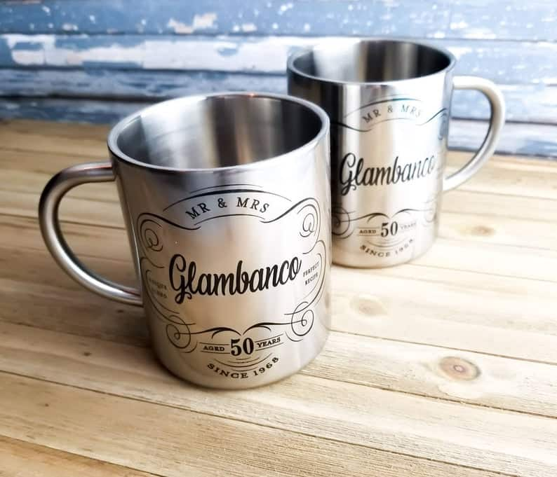 10 year anniversary gift ideas for couple: Personalized Stainless Steel Mug set
