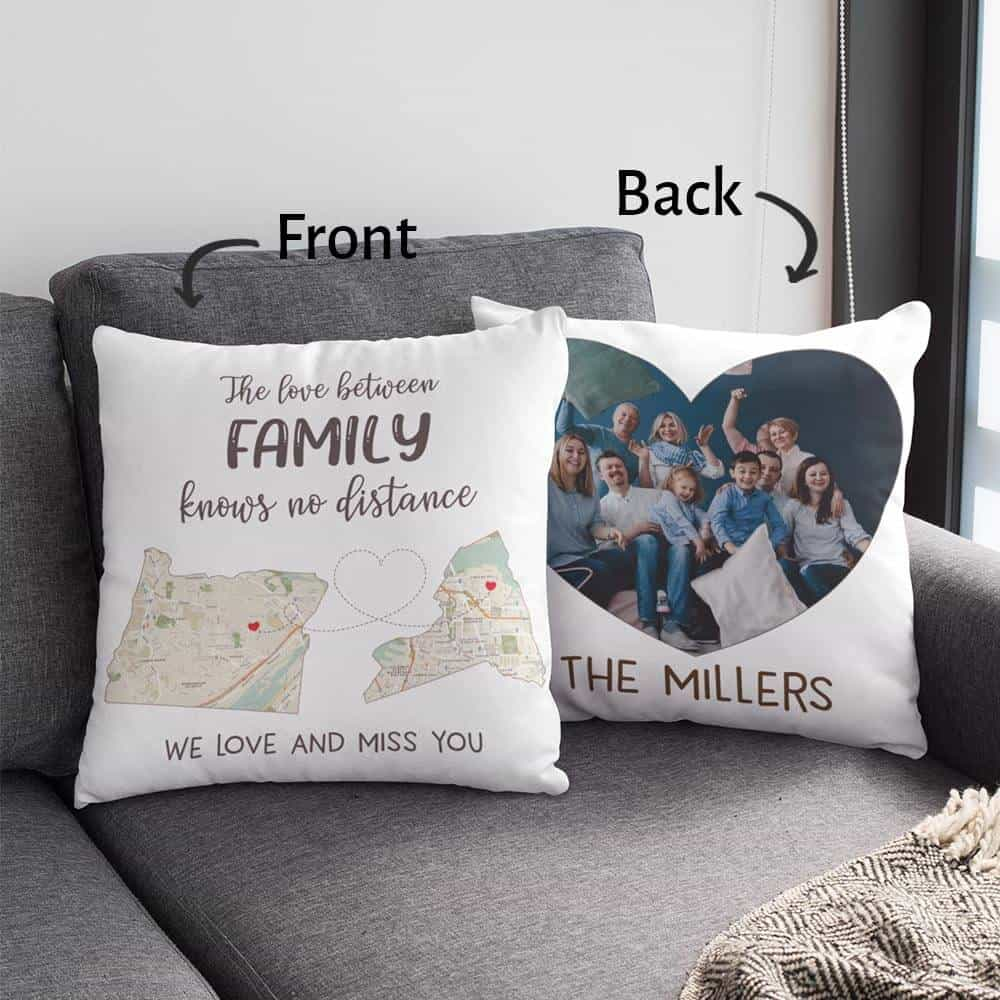 mothers day gift for mom who lives far away: long distance custom map photo pillow