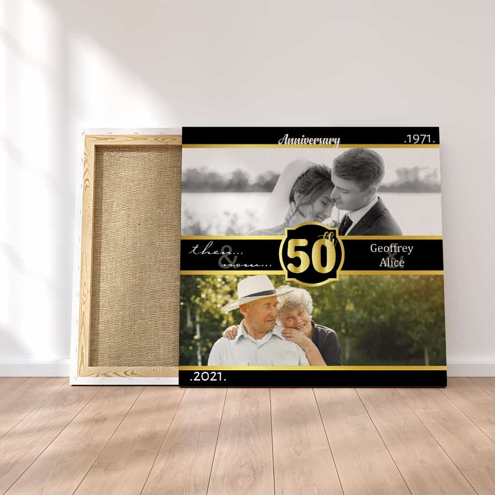 Then And Now Photo Canvas Print - 50th anniversary gifts