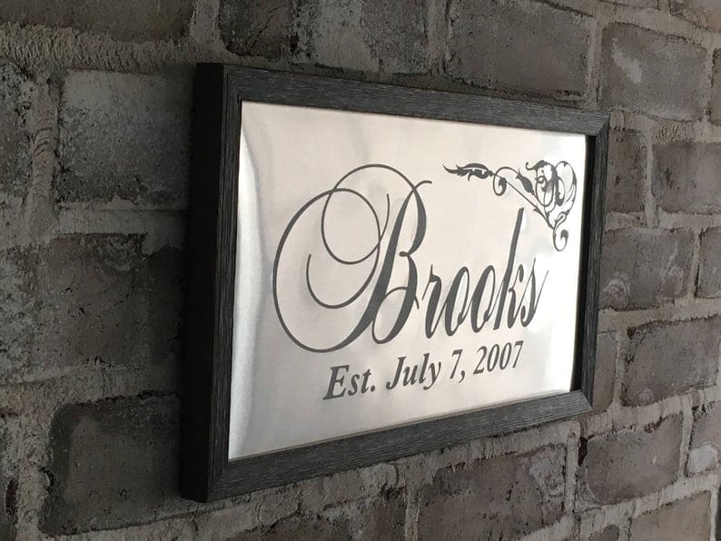 aluminum anniversary gifts for couples: aluminum established date sign