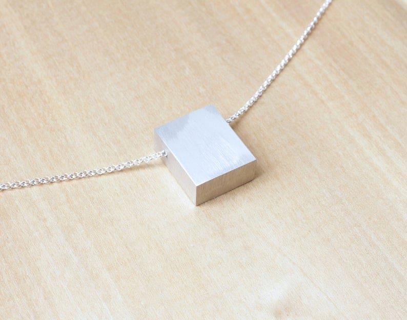 aluminum gift for wife: minimalist aluminum necklace