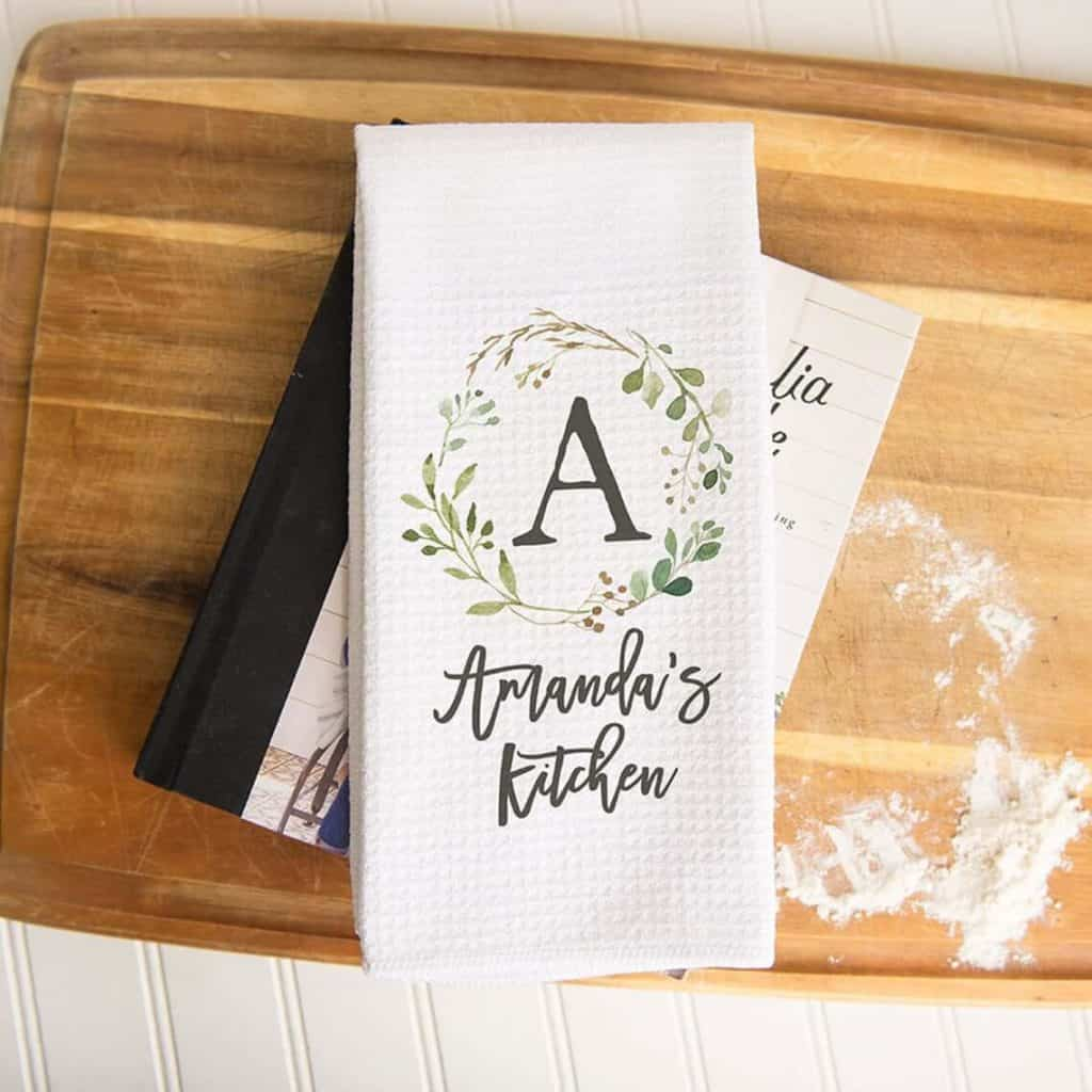 inexpensive mother's day gift ideas: custom kitchen towel