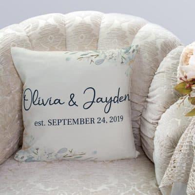 custom couple's name and anniversary date throw pillow
