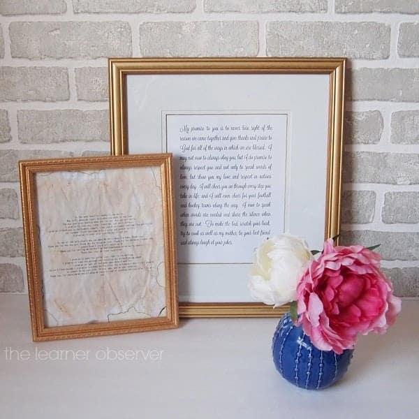 diy anniversary gift: framed wedding vows