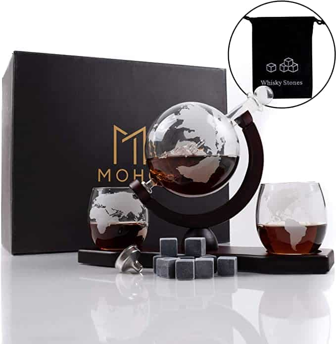 gifts for grandfather: globe whiskey decanter set