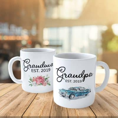 Grandparents Grandma and Grandpa Est Year Custom Mugs