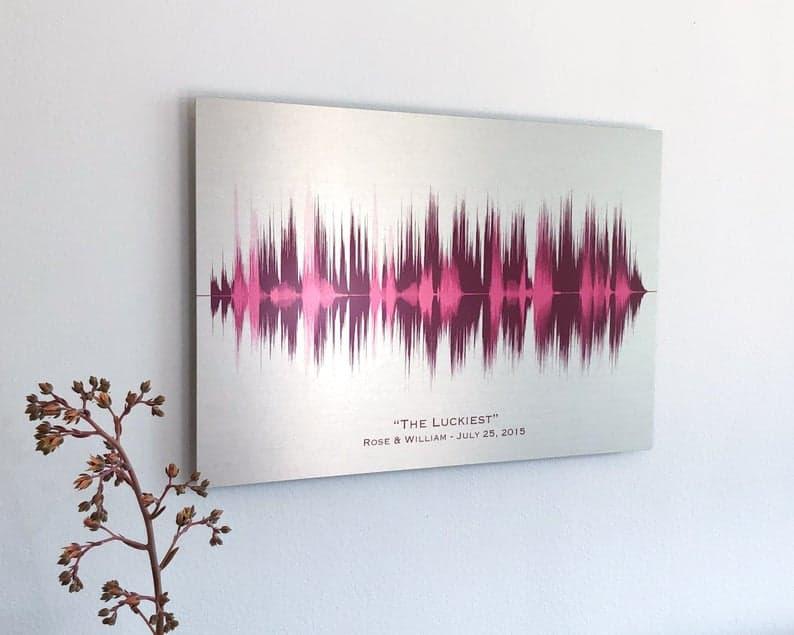10 year anniversary gift for him: tin sound wave art