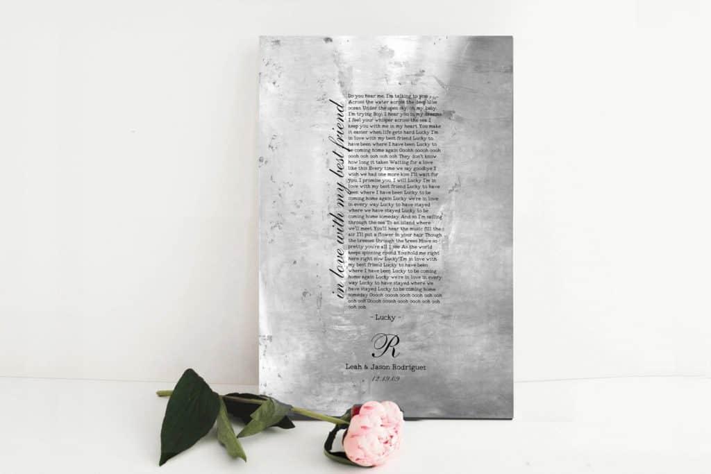 tin gift for 10th anniversary: wedding song on tin print