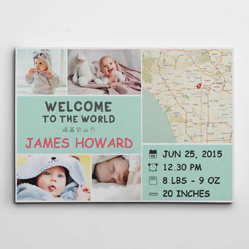 custom canvas print with baby birth stats