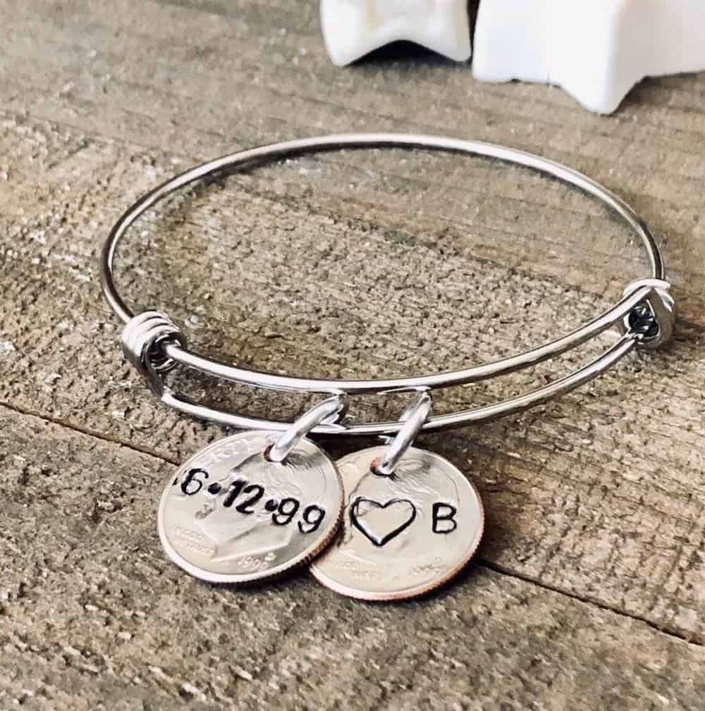 20th anniversary personalized keychain gift for him