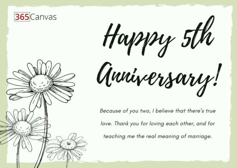 A 5 Year Anniversary Quote For A Couple - Happy 5th Anniversary!