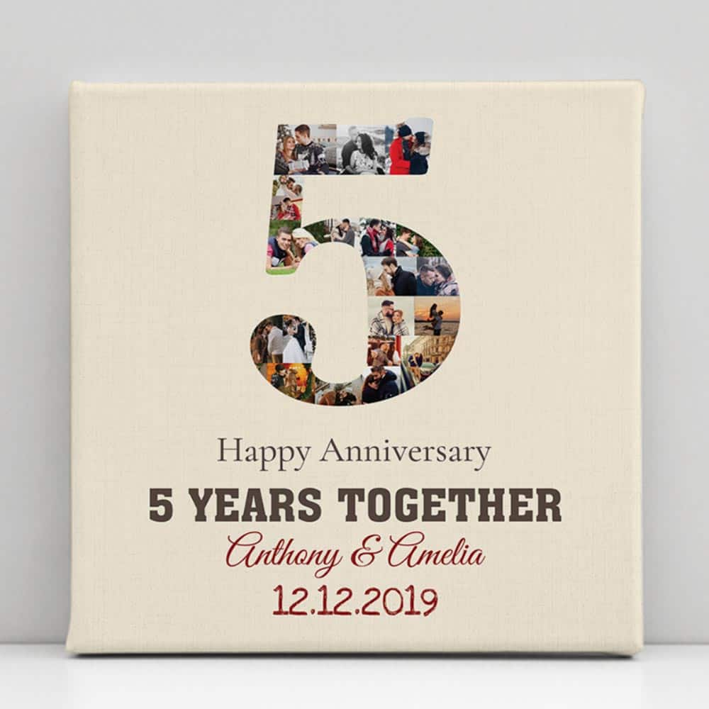 5 years together photo collage canvas print
