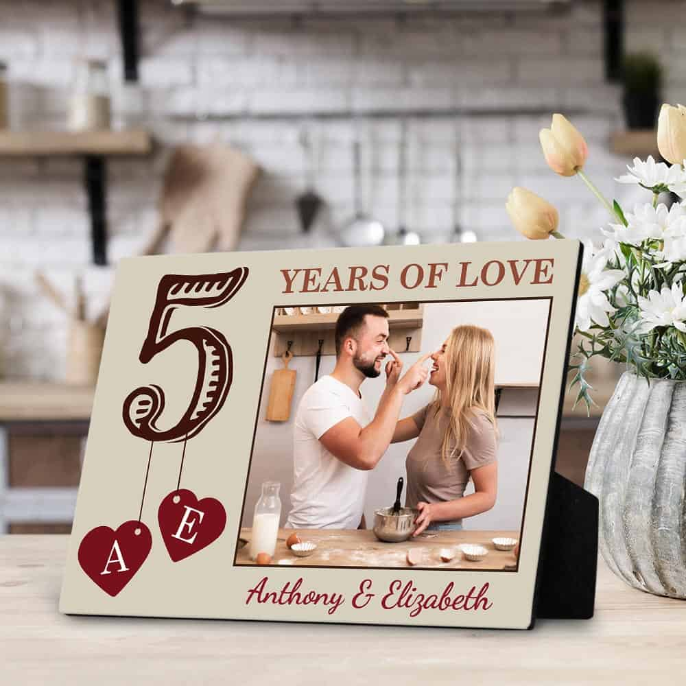 5 years of love desktop photo plaque gift for fifth anniversary