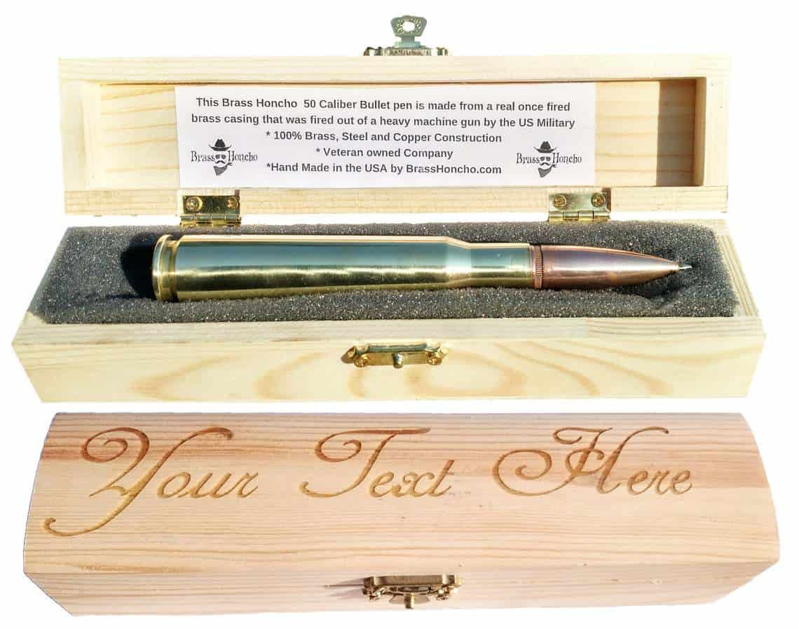 Bullet Pen in a wooden box that can customized. A perfect retirement gifts for men.