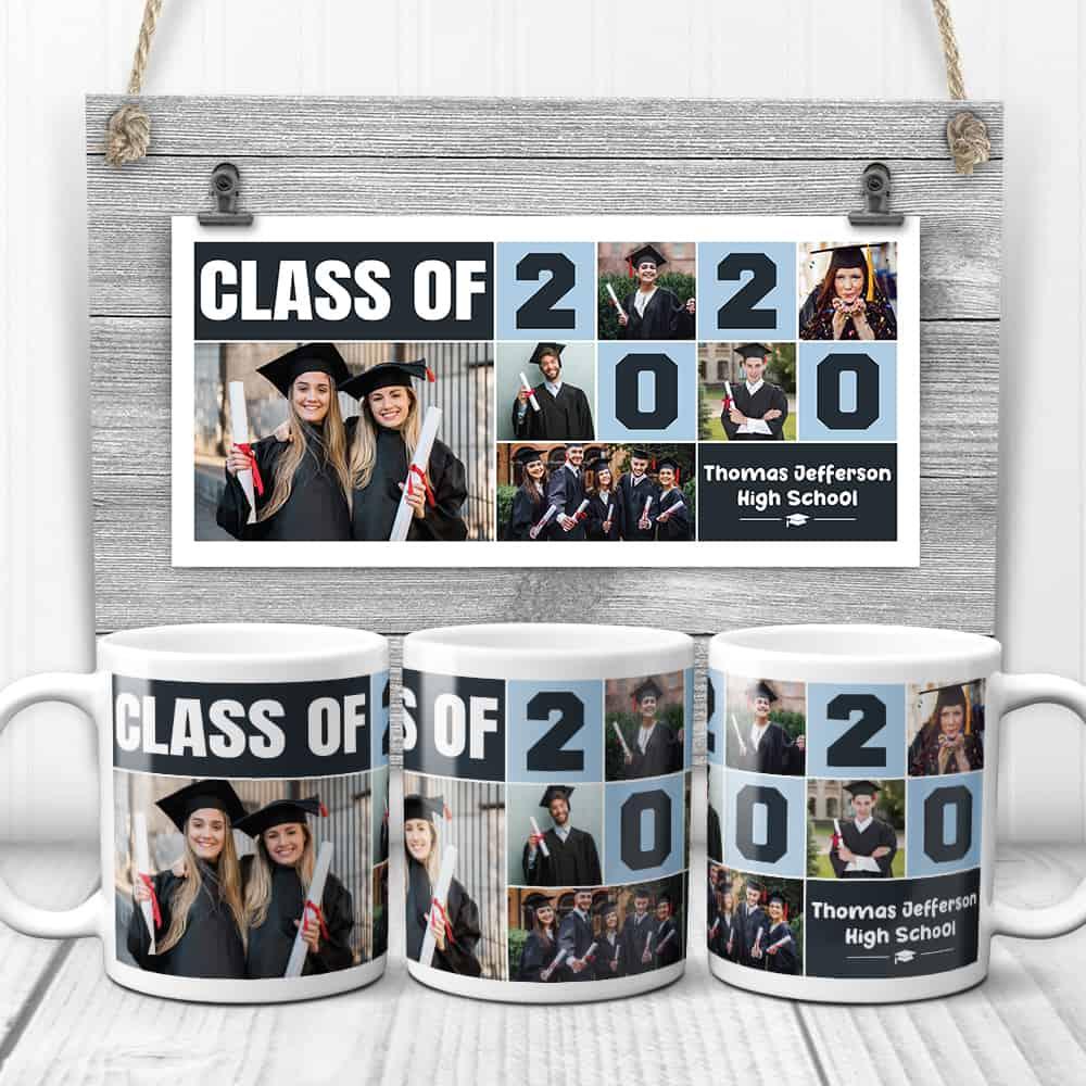 Class Of 2020 Graduation Custom Photo Collage Mug