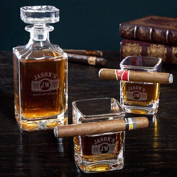good retirement gifts for men: Decanter Set with Cigar Glasses