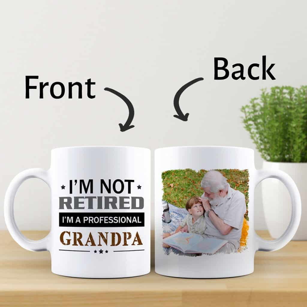 Ceramic Grandpa Photo Mug with photo and message