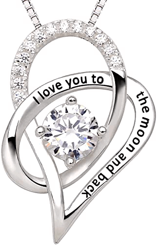 Jewelry Sterling Silver I Love You to The Moon and Back Pendant Necklace - a 16th birthday gift from parents to daughter