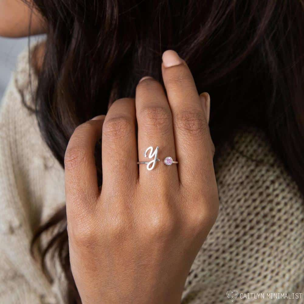 Monogram Birthstone Ring For A Girl On Her Sweet 16th Birthday