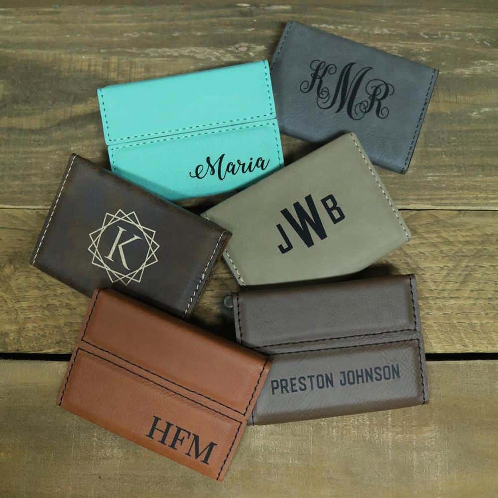 Monogrammed Business Card Holder Personalized Graduation Gift For Him