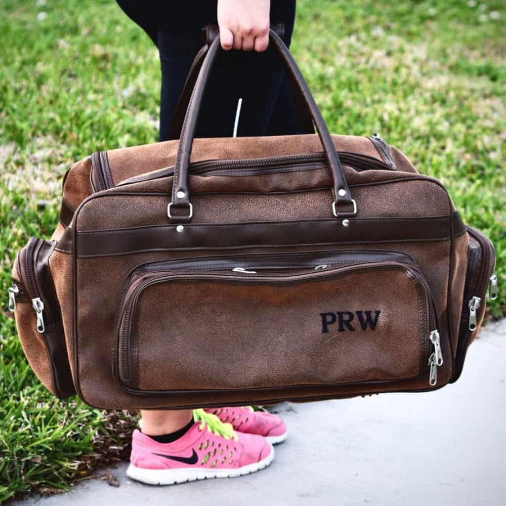 ideas for retirement gifts for men: Personalized Duffel Bag in Brown