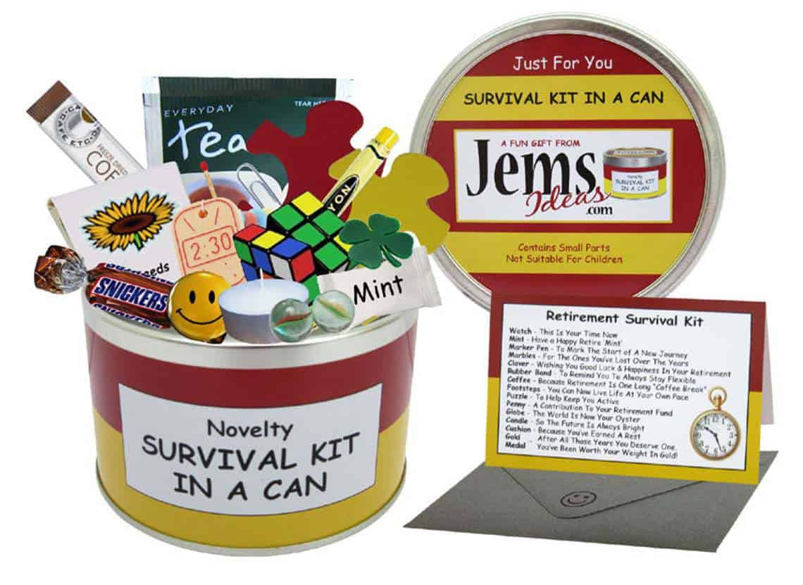 Retirement Survival Gift in ca read and yellow can