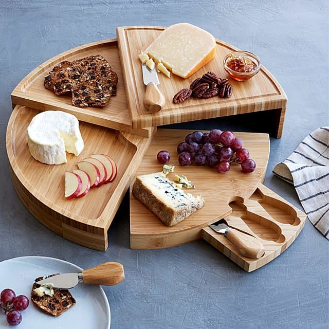 godparent gifts: compact cheese board with knives