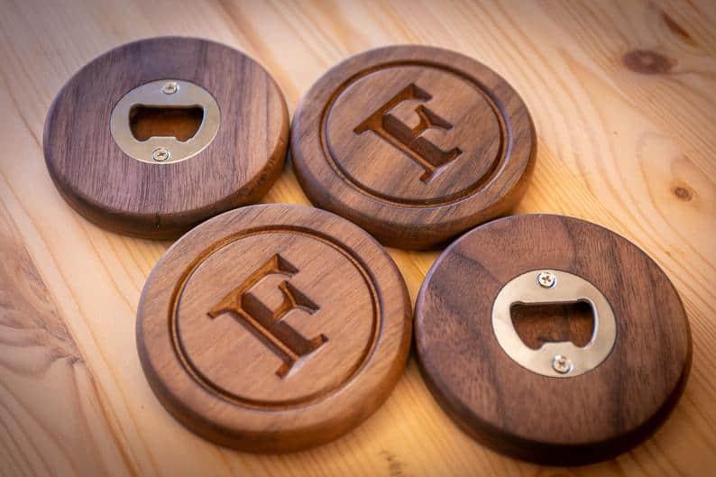 birthday gift for uncle: custom wood coaster bottle opener