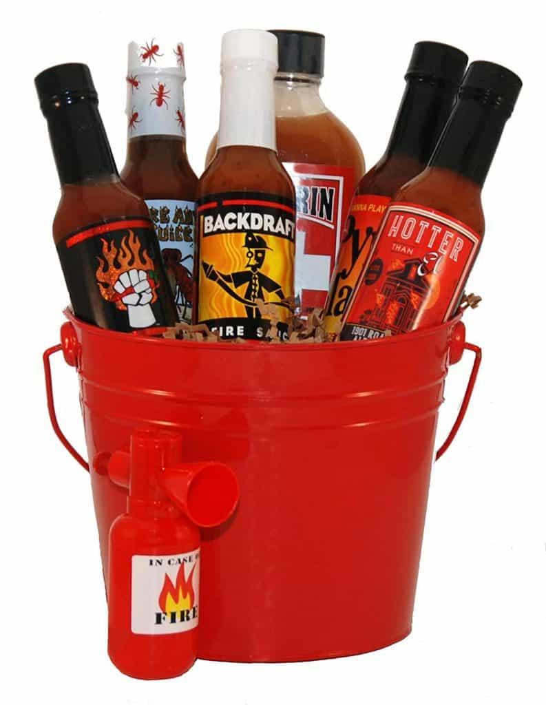 gourmet hot sauce gift set - firefighters hot sauce gift basket