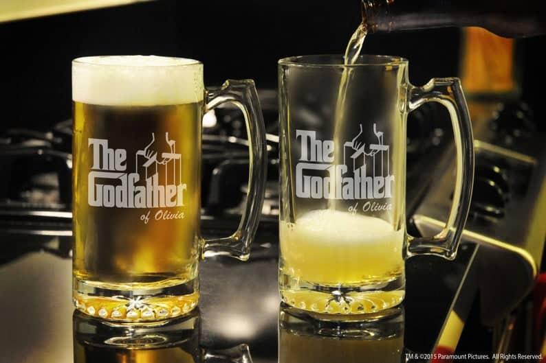 the godfather gifts: godfather beer mug