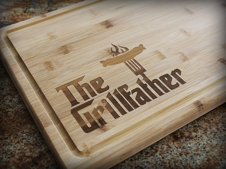 gift idea for godfather: the grillfather cutting board