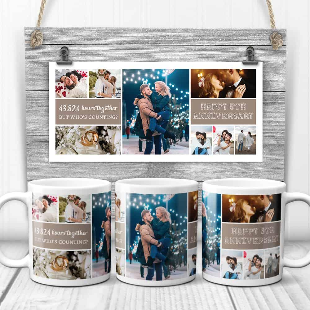 happy 5th anniversary photo collage mug