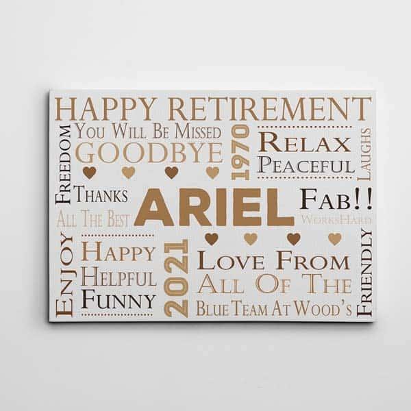 happy retirement custom word art