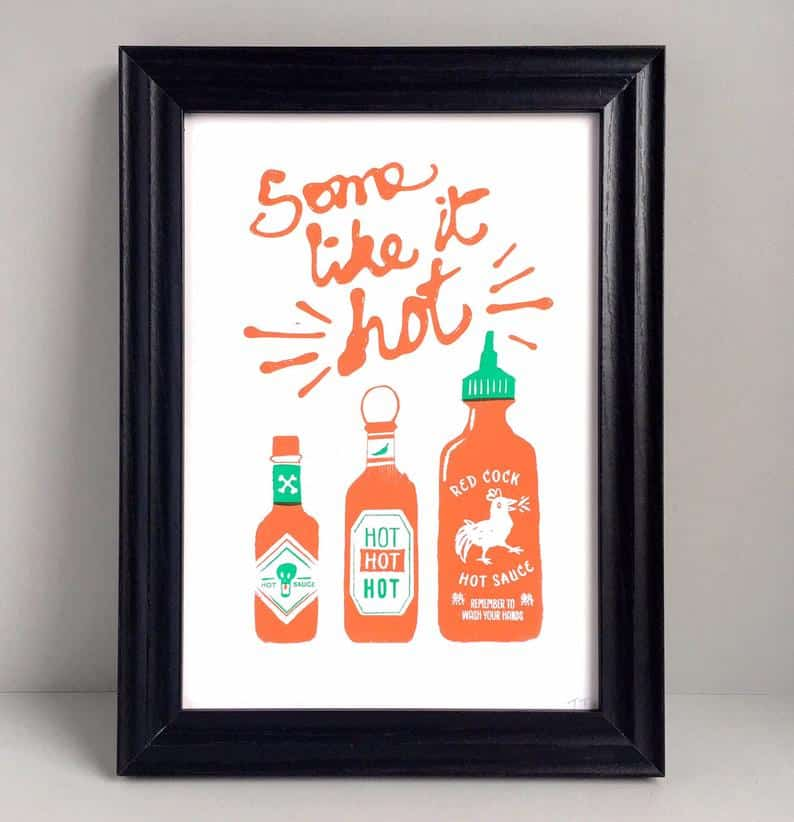"hot sauce gift ideas: ""some like it hot"" art print"