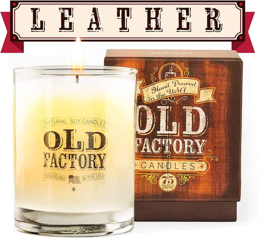 christmas gift idea for men: leather scented candle