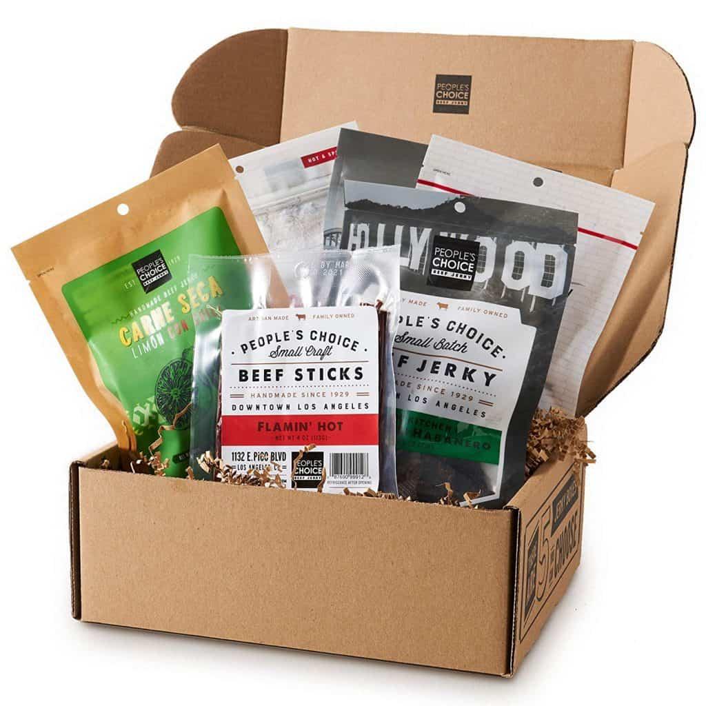 spicy food gifts: meat snack sampler gift basket