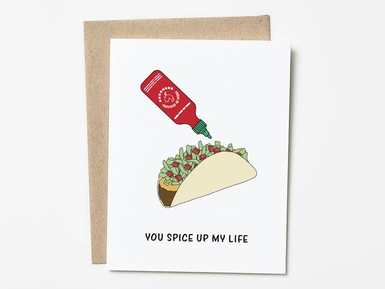 a card with hot sauce puns
