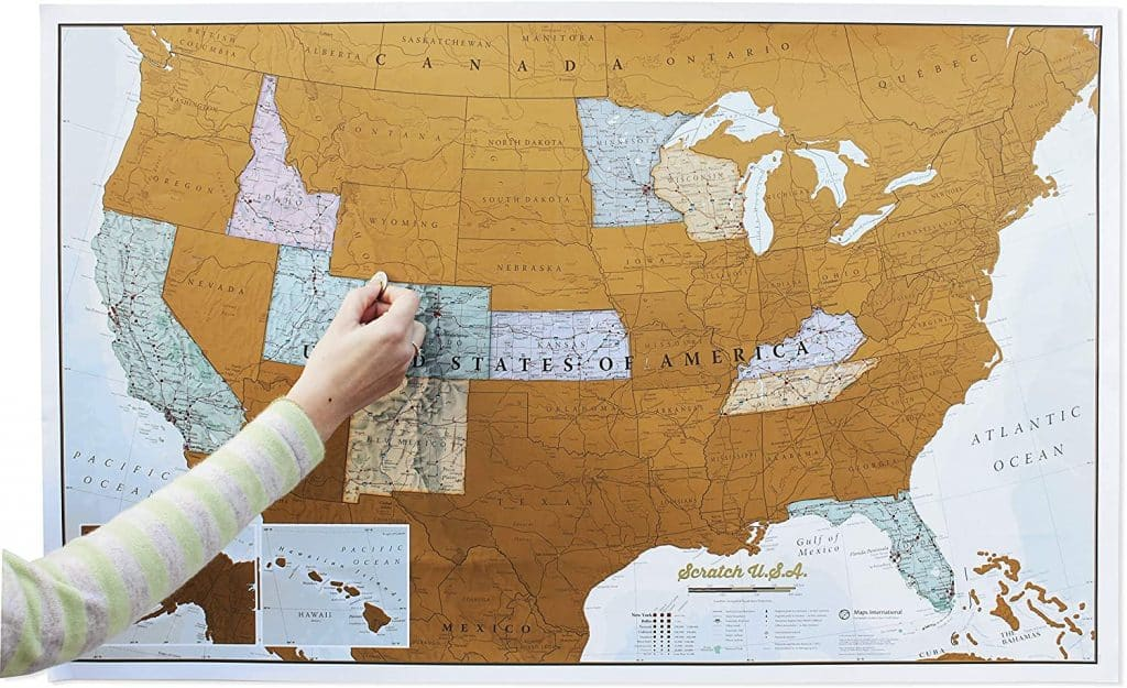 gift ideas for uncle: scratch off map of the US