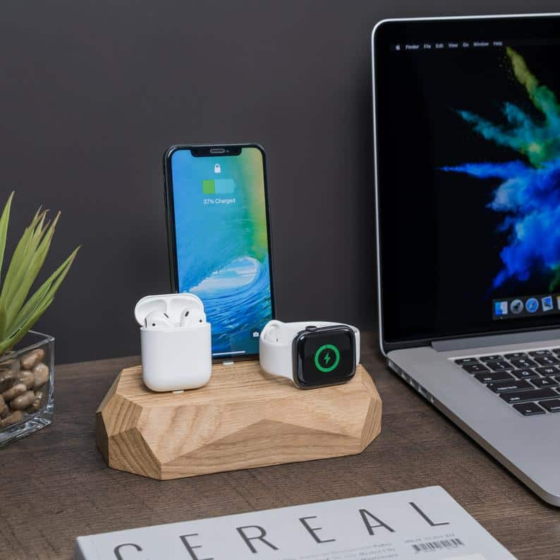 cool uncle gift: wooden charging station