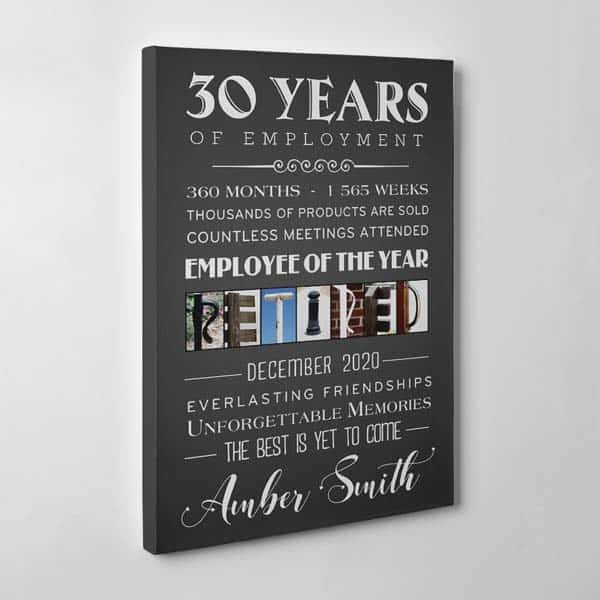 unique retirement gifts for men: Years Of Employment Canvas