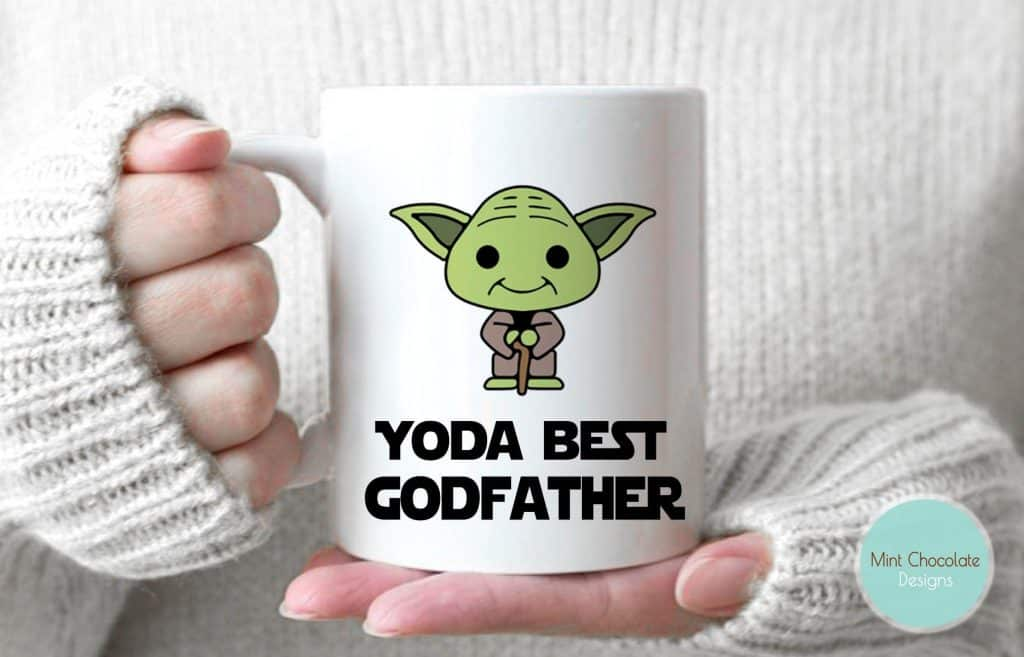 father's day gifts for godfathers: yoda best godfather mug