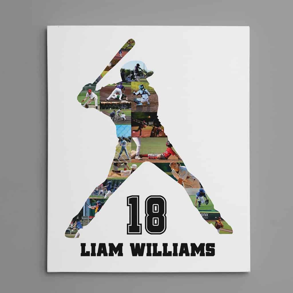 Baseball Photo Collage Canvas Print